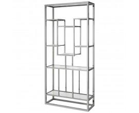 Chrómová dizajnová knižnica Cromia zo skla a kovu 220cm