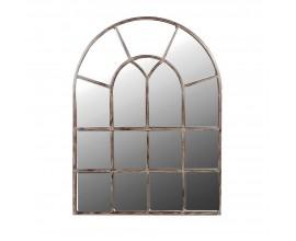 Vintage nástenné zrkadlo Ristora s obúkovitým rámom z kovu a dreva 122cm