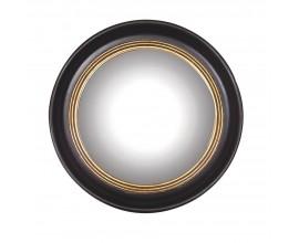 Štýlové vintage závesné zrkadlo Circuit kruhového tvaru s čiernym rámom so zlatým zdobením