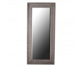 Vintage nástenné zrkadlo Perilla obdĺžnikového tvaru sivej farby s ornamentálnym zdobením 187cm