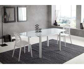 Moderný rozkladací jedálenský stôl Loanne zo skla v lesklej bielej farbe 120(180)cm