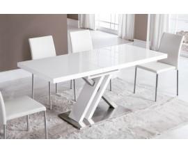 Moderný rozkladací jedálenský stôl Brillante v lesklom bielom prevedení s kovovou podstavou 130(170)cm
