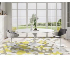Luxusný okrúhly jedálenský stôl Henning v lesklom bielom prevedení 200cm