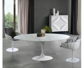 Mramorový jedálenský stôl Henning Marble s lakovanou bielou nohou s lesklým povrchom