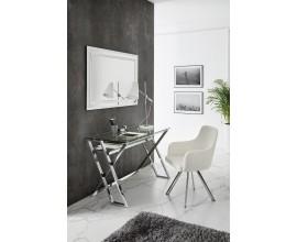 Sklenený písací stolík Aletta s poličkou so striebornými kovovými nožičkami 120cm