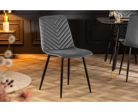 Retro moderná jedálenská stolička Forisma so sivým zamatovým poťahom 87cm