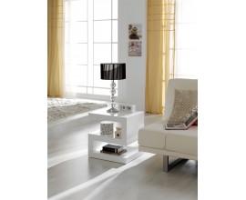 Dizajnový lesklý moderný príručný stolík Danea bielej farby v tvare písmena Z