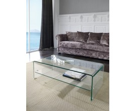 Moderný sklenený konferenčný stolík Alize s poličkou 110cm