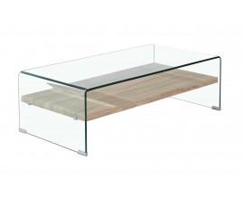 Moderný sklenený konferenčný stolík Alize s drevenou poličkou 110cm