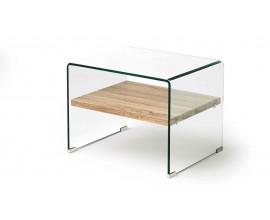 Sklenený moderný príručný stolík Alize 63cm