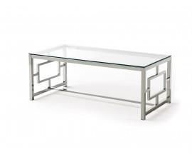 Chrómový dizajnový konferenčný stolík Adorno zo skla a kovu 120cm