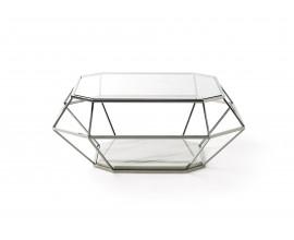 Moderný nadčasový konferenčný stolík  Adorno z kovu a skla geometrických tvarov 100cm