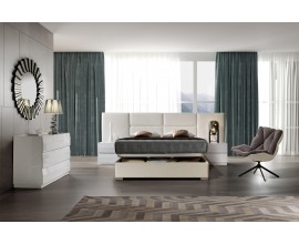 Moderná luxusná posteľ Sara s rozšíreným čelom s čalúnením z ekokože a s úložným priestorom 140-180cm