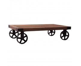 Konferenčný stolík 140cm BERN INDUSTRIAL na kolieskach