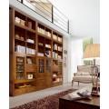 Luxusná obývačková stena Star z masívneho dreva mindi s úložným priestorom