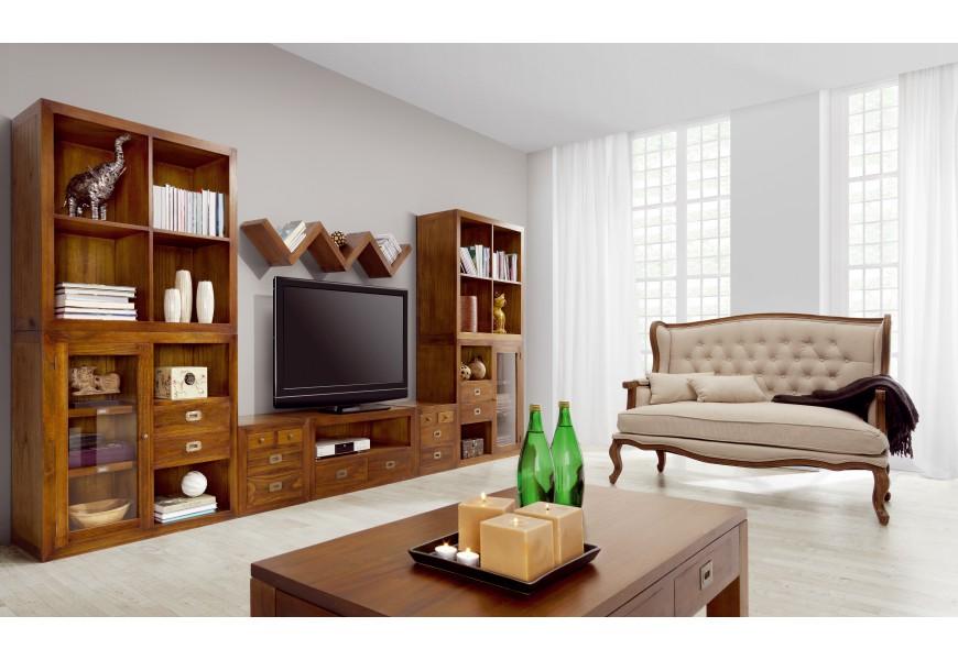 Elegantná obývacia stena Star z masíveho dreva v hnedej farbe
