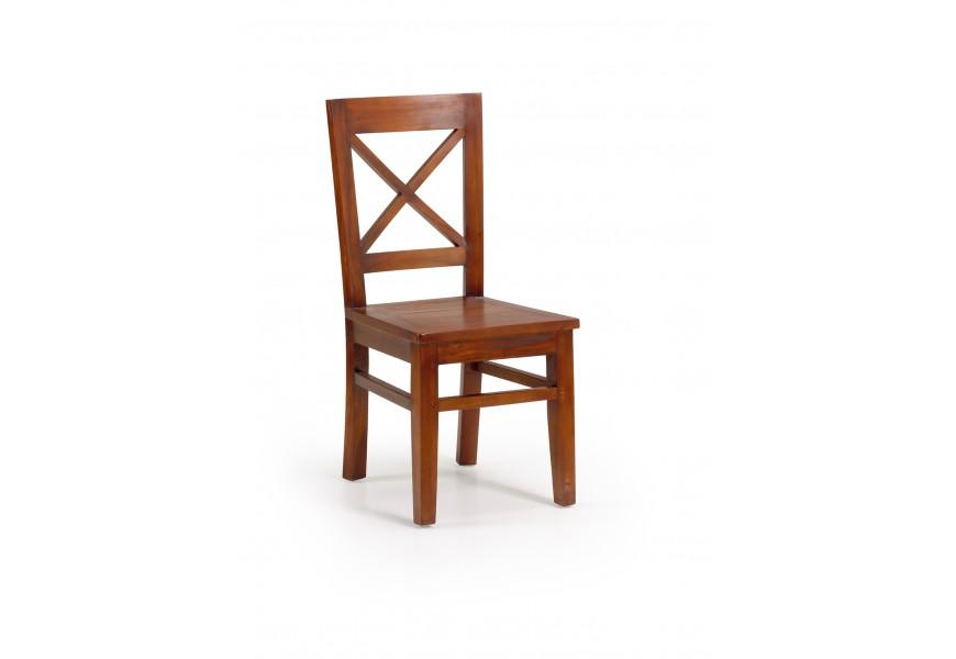 Drevená stolička Flamingo z masívu mahagónového dreva čerešňovej farby