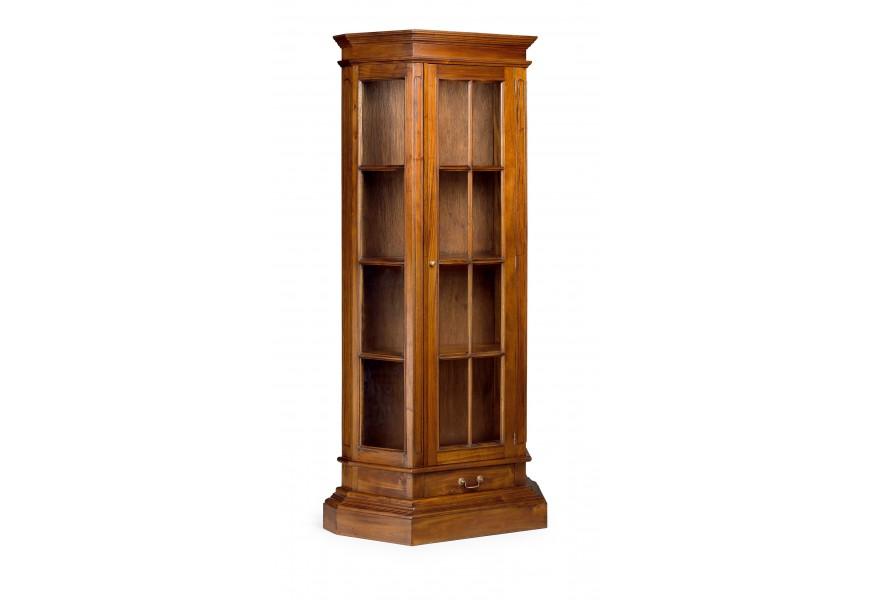 Luxusná koloniálna vitrína M-Vintage z masívneho mahagónového dreva hnedej farby