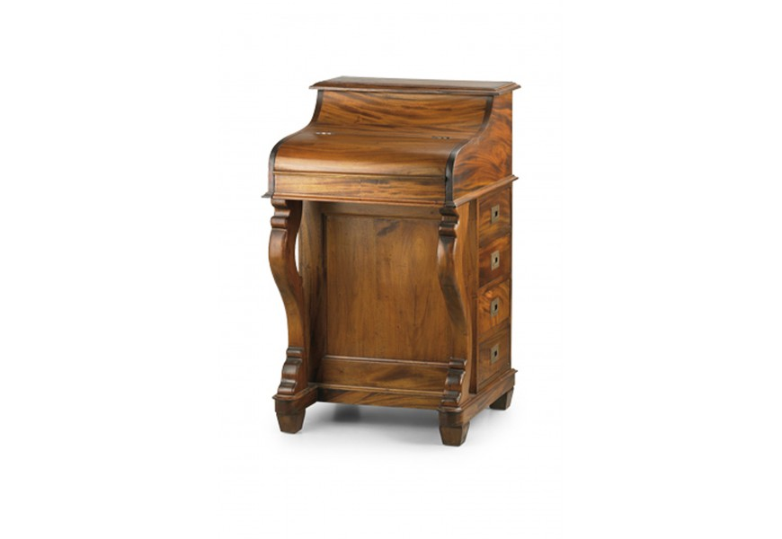 Rustikálny písací stolík so sekretárom mahagónovej farby