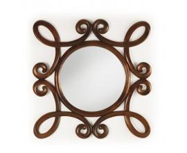 Rustikálne nástenné zrkadlo M-VINTAGE s rámom z mahagónového dreva tmavohnedej farby 100cm