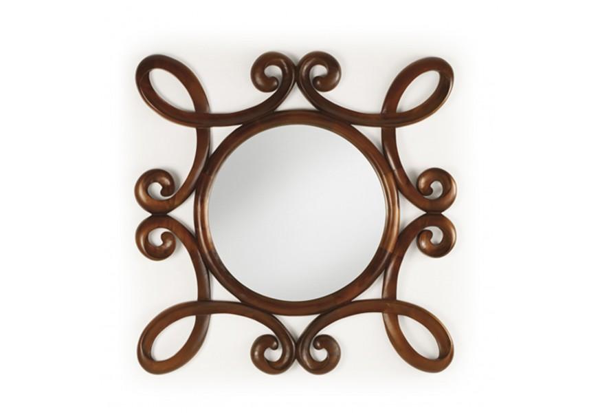 Orientálne závesné zrkadlo M-Vintage s ornamentálnym rámom z masívu tmavohnedej farby