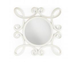 Rustikálne nástenné zrkadlo M-VINTAGE s rámom z mahagónového dreva bielej farby 100cm