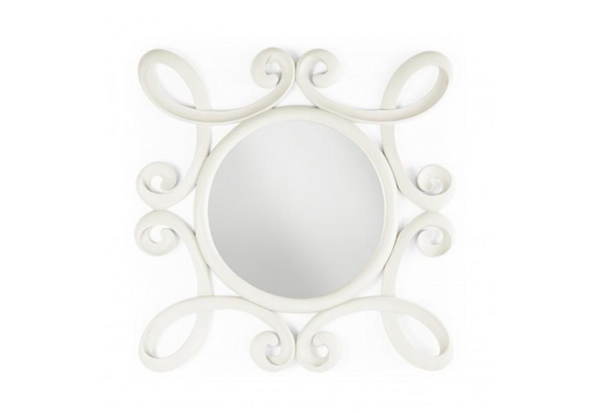 Koloniálne nástenné zrkadlo M-Vintage kruhového tvaru s ornamentálnym rámom z masívu bielej farby