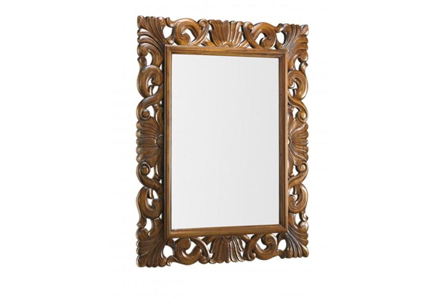 Luxusné rustikálna nástenné zrkadlo M-Vintage s masívnym rámom hnedej farby s vyrezávanými ornamentami