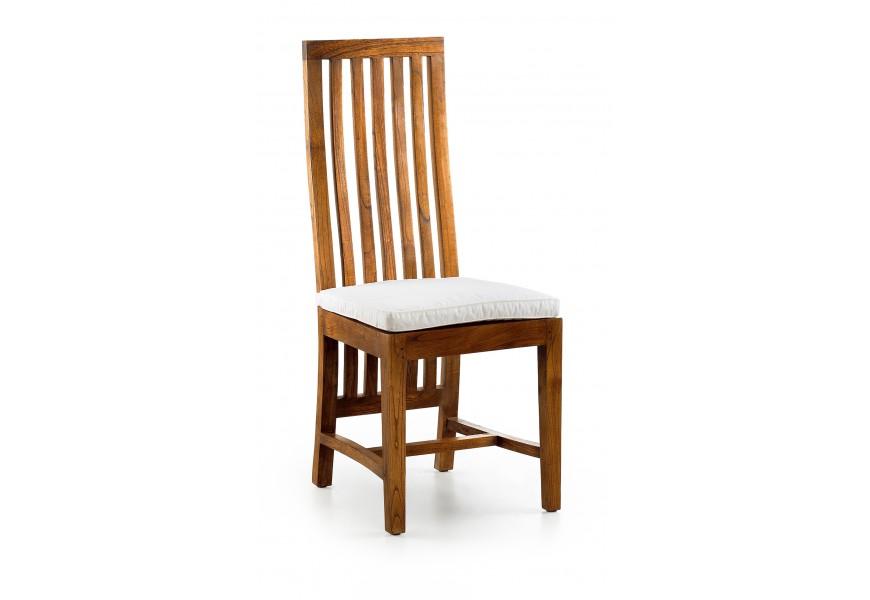 Luxusná jedálenská stolička Star z masívu mindi s vysokým operadlom a béžovým čalúnením