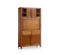 Dizajnový veľký sekretár s regálom z dreva Star so zásuvkami a dvierkami 190cm