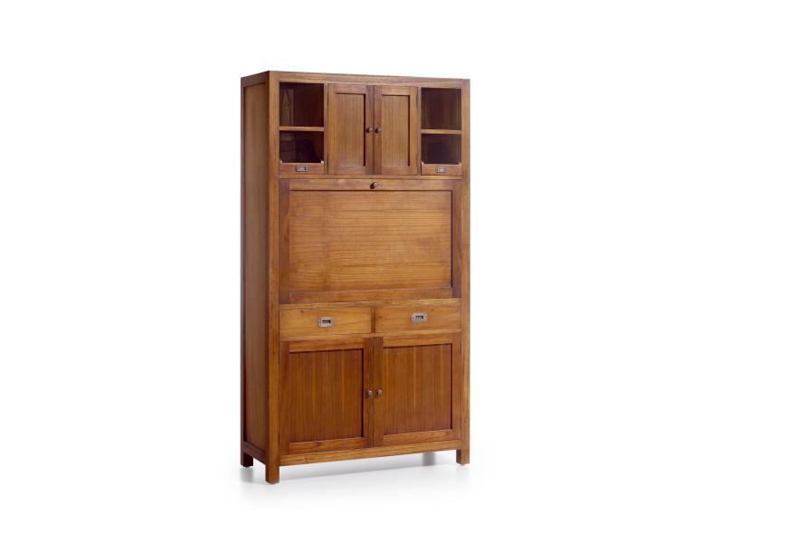 Luxusná skriňa Star z masívneho dreva mindi so sekretárom, dvierkami a zásuvkami