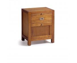 Klasický masívny nočný stolík Star z dreva mindi v hnedom prevedení so zásuvkou a dvierkami