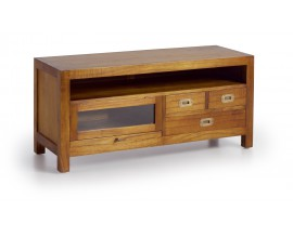 Dizajnový TV stolík z dreva Star so zásuvkami a sklenenými dvierkami 110cm