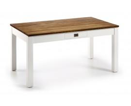 Jedálenský stôl NEW WHITE combi s dvomi zásuvkami)