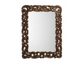 Rustikálne luxusné nástenné zrkadlo M-VINTAGE s rámom z masívneho dreva tmavohnedej farby 120cm