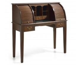 Rustikálny luxusný písací stolík so sekretárom M-Vintage z masívneho dreva v tmavohnedom odtieni 125cm