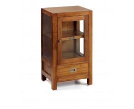 Dizajnový príručný stolík Star z masívu hnedej farby so sklenenými dvierkami a zásuvkou 80cm