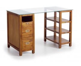 Luxusný masívny písací stôl so skleneným vrchom a tromi zásuvkami Star