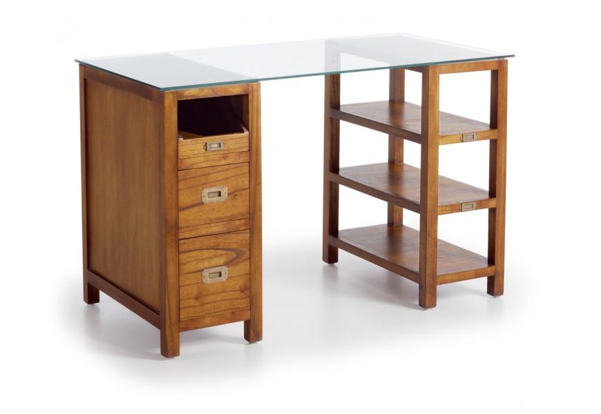 Elegantný písací stolík Star z masívu a skla s poličkami a zásuvkami
