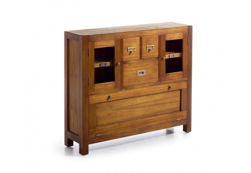 Drevená konzolová skrinka s botníkom Star z dreva mindi so zásuvkami a dvierkami 110cm