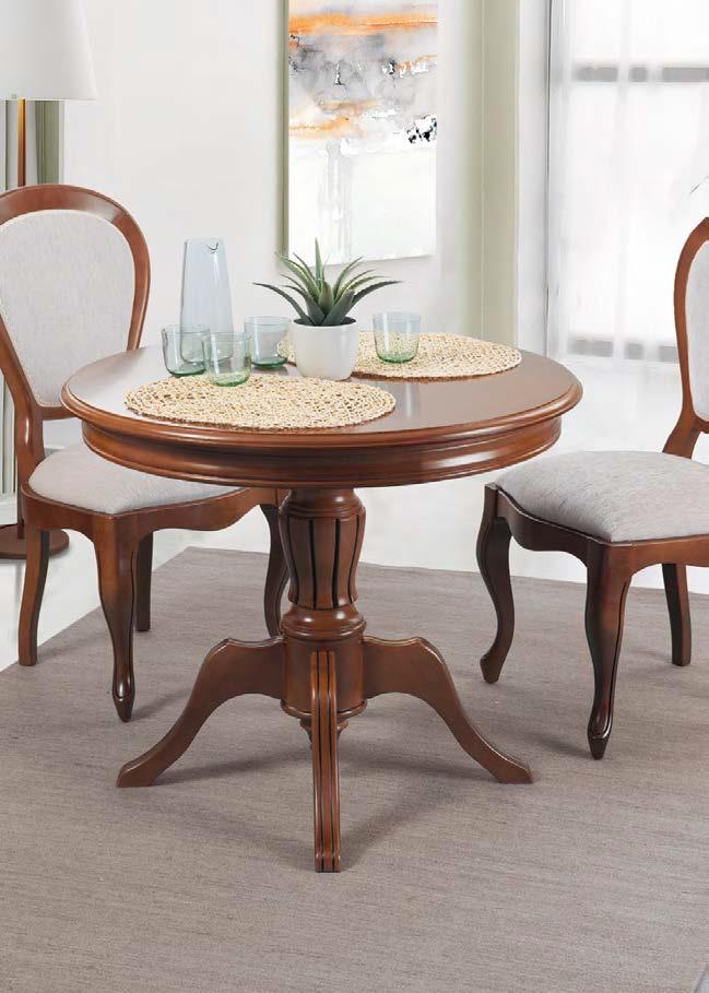 Rustikálny okrúhly jedálenský stôl na stredovej podnoži