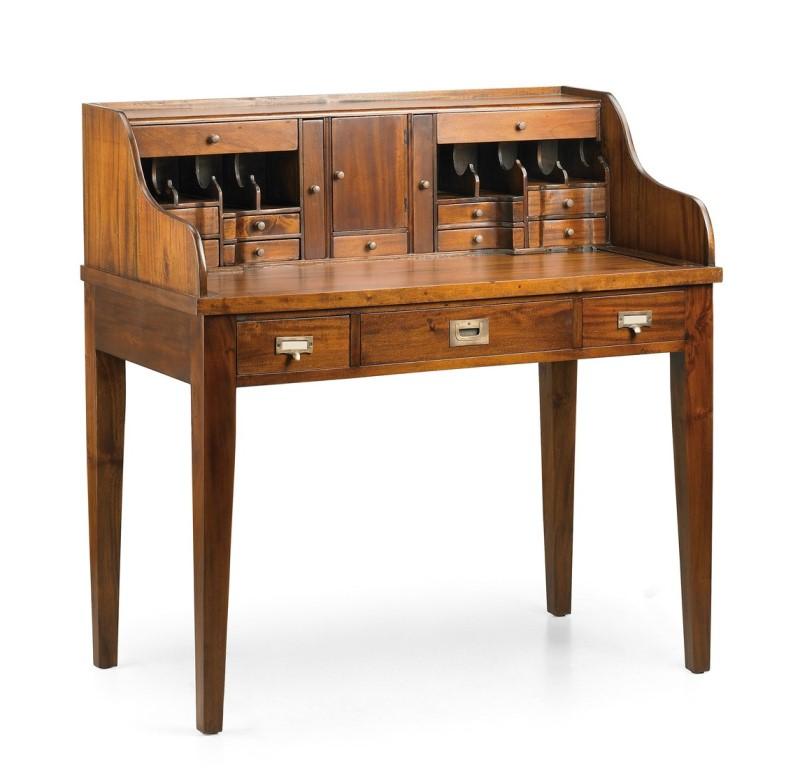 Luxusný klasický rustikálny písací stolík z masívneho dreva Mahagón