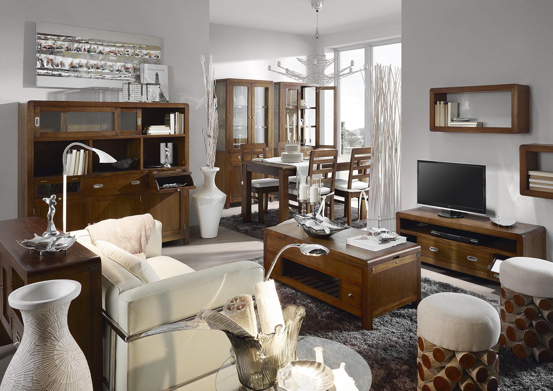 Luxusný nábytok do obývacej izby z masívneho dreva tmavohnedej farby