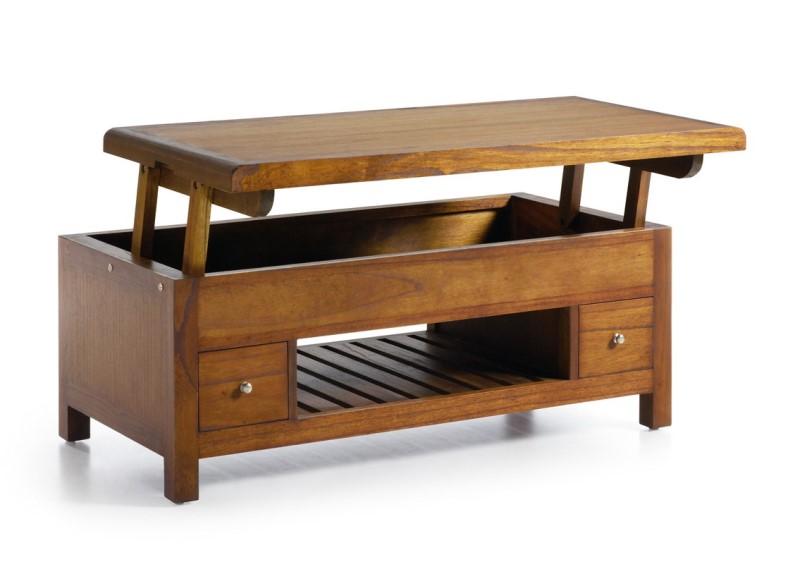 Luxusný výškovo nastaviteľný konferenčný stolík z masívneho dreva tmavohnedý