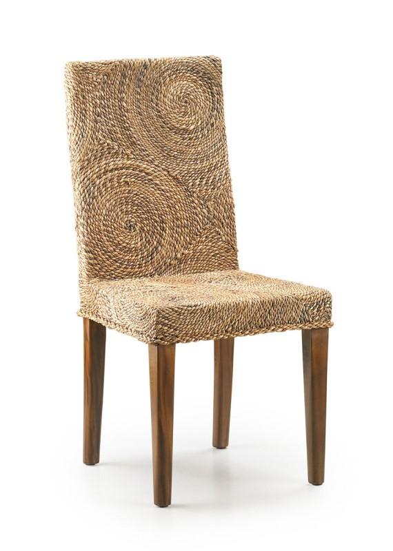 Moycor luxusná jedálenská stolička z tmavého dreva a ratanu
