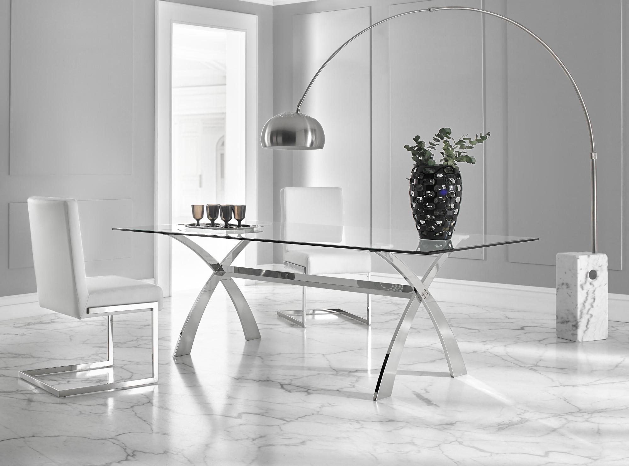 Luxusný sklenený jedálenský stôl Cromix 200cm